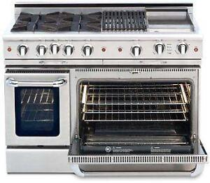 """Professional 48"""" Self Clean Gas Range, Custom colors, Red, Black or Whatever Knobs you Like."""