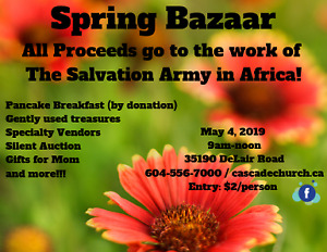 SPRING BAZAAR - Fundraiser for The Salvation Army work in Africa