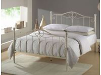 CLEARANCE Ex display ivory Metal Double & King Size Bed Frame (Free Local Delivery)