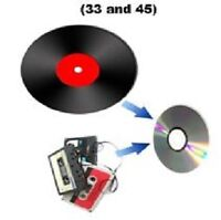 Transfer Vinyl records to CD (33 and 45) $8