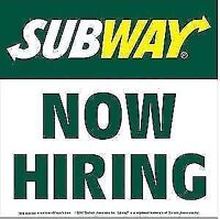 Subway Hiring: PART time ONLY Georgtown,ON