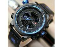 2017 New NAVIFORCE Dual Display Wristwatches Waterproof Leather Watch Men Casual Military Watches