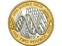 Rare £2 coin DNA DOUBLE HELIX