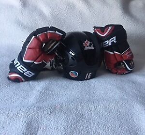 Mark Stone game worn helmet and gloves