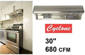 """NEW STAINLESS UNDERMOUNT RANGE HOOD CYCLONE Stainless Steel - Filter-less - 680 CFM 30"""" HOME KITCHEN APPLIANCES"""