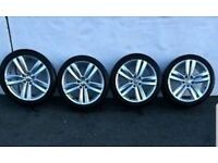 VW KANSAS 18 INCH ALLOY WHEELS 5X112 PASSAT GOLF EOS CC CADDY AUDI