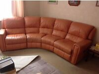 Real leather corner sofa with reliner both ends