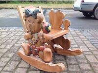 Stunning child's wooden teddy rocking chair