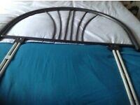 Metal headboard ,grey single bed