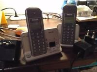 Philips SE 435 Twin Silver Cordless Phone