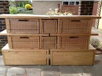 Ikea Norrebo Shelves with baskets and wooden drawers