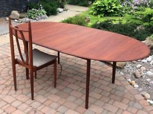 Mid Century Modern Teak Extendable Dining Table Oval REFINISHED