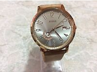 FOSSIL VINTAGE MUSE ROSE GOLD BROWN LEATHER WOMEN'S WATCH ES3751