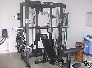 Smith half rack with lat pec deck row pull up cable cross solid