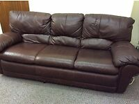 3 SEATER BROWN LEATHER SOFA. FREE LOCAL DELIVERY.