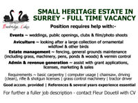 SMALL HERITAGE ESTATE IN SURREY FULL TIME VACANCY