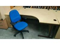180 cm Wide Light Beech Right Handed Corner Desk and Swivel Chair !