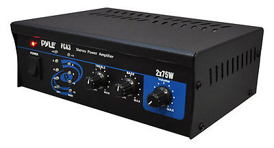 (New Pyle PCA3 Mini 2X75W Home House Theater Stereo Power Amp Amplifier Receiver)