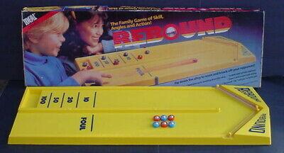 VINTAGE 1986 Ideal Rebound GAME Bumper Shot Board Game + 6 Pucks Near -