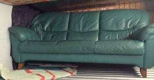 LEATHER 3 SEATER - GOOD CONDITION - Green PICK UP only Bexley Rockdale Area Preview