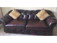 Stunning oxblood leather chesterfield 3 seater sofa