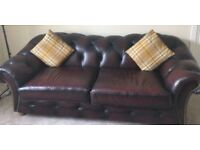 Modern classic 3 seater full leather chesterfield sofa