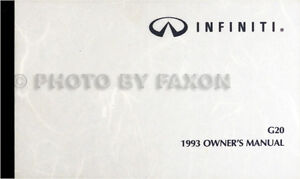 1993-Infiniti-G20-Owners-Manual-Original-G-20-Sedan-Owner-Guide-Book-93-OEM