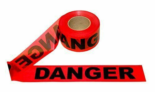 Durable Danger Barricade Tape for Marking Physical Hazards (4 Roll) 330′ Red Business & Industrial