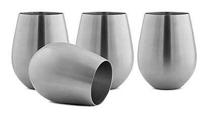Modern Innovations Stainless Steel Stemless Wine Glasses, Set of 4, 18 Oz