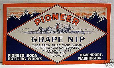 Pioneer Grape Nip Old Soda Label Davenport Washington