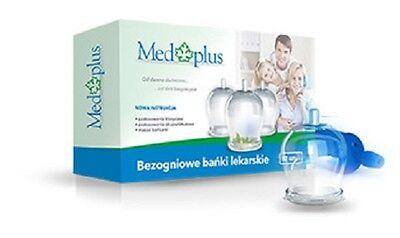 MEDPLUS 12 FIRELESS CUPPING GLASSES+PUMP BANKI SZKLANE BEZOGNIOWE 12SZT+POMPKA