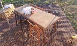 Wooden Trestle Tables   FOR HIRE   20 Vintage Style U0026 Folding Wooden Chairs