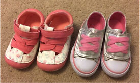 2 pairs Baby Girls Shoes Size 4
