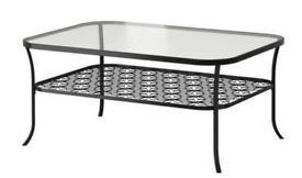 Coffee table, black, clear glass KLINGSBO (IKEA)