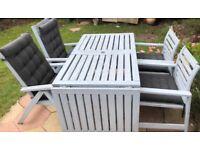 Ikea Applaro wooden garden table and 4 chairs