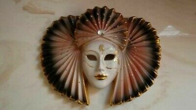 PORCELAIN PAINTED WALL HANGING FACE MASK (7 1/2 X 9 1/2 X 2 in.)