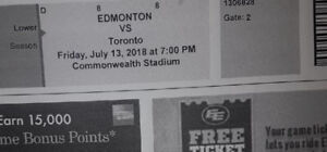 Two tickets to the Edmonton vs Toronto CFL game on Friday July13