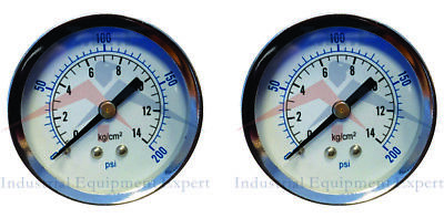 2 Air Compressor Pressurehydraulic Gauge 2 Face Back Mount 14 Npt 0-200 Psi