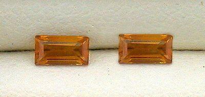 Madeira Citrine Gemstone - Two 4mm x 2mm Rectangle Baguette Madeira Citrine Gemstone Gem Stone EBS4514H1