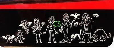 NIP-9 Halloween Gama Go Vampire Family Vinyl White Outline Decal Car Stickers