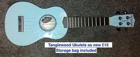 Tanglewood pale blue ukulele as new
