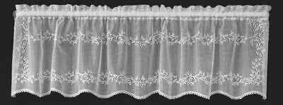 """Heritage Lace White SHEER DIVINE Window Valance 60""""Wide x 16"""" Drop -Made in USA!"""