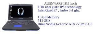 ALIENWARE 18'' i7 3.4ghz 16GB,512GB SSD, Dual Nvidia GTX 770M