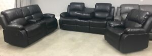 New Black reclining console love seat, drop table sofa, recliner