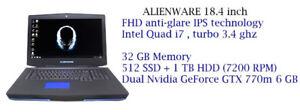 ALIENWARE 18'' i7 3.4ghz 32GB,512GB SSD,1TB Dual Nvidia GTX 770M