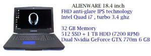 ALIENWARE Gaming  13'' 14'' 15'' 17' 18''  starts 749$ to 1799 $