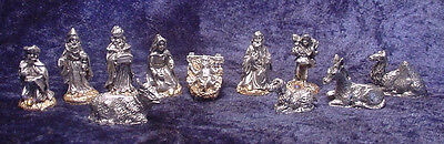 Pewter 11 Piece Nativity Set with Golden Crystals