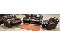 3 + 2 + 1 Seater Genuine Leather Recliner Sofas - Chocolate.
