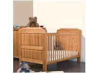 USED 4BABY HONEY PINE ALEX COT BED & BABY COTBED LUXURY SPRUNG SAFETY MATTRESS