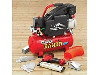 Clarke Bandit 1HP 8L Compressor and Tools All New
